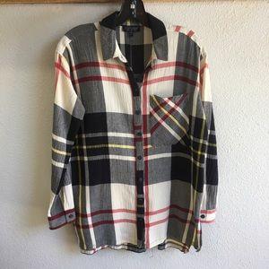 TopShop Plaif Oversize Tunic Shirt Button Down